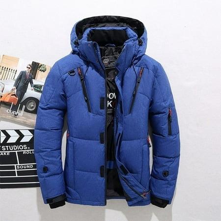 Winter Warm White Duck Thick Down Jacket Veste Outwear Men's Snow Parka Hooded Jacke Coat ()