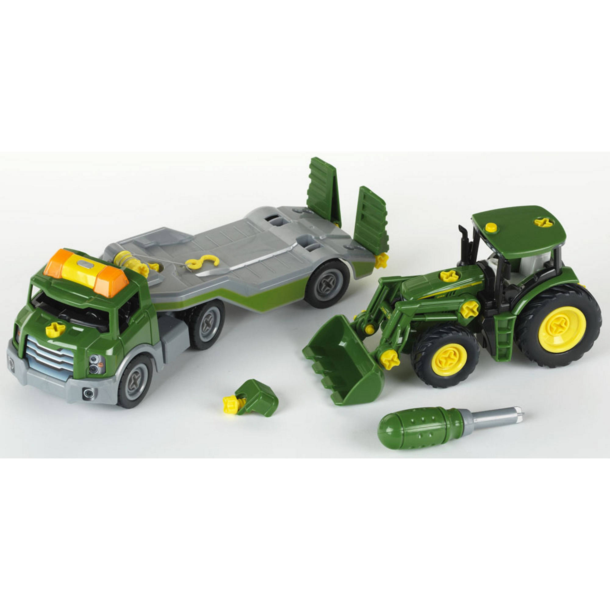 Theo Klein John Deere Take A Part Transporter with John Deere Take A Part Tractor