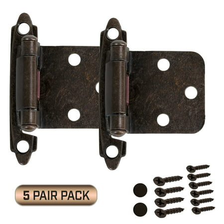 Cabinet Door Hinges 5 Pair Pack (10 Pieces) Self Closing Face Overlay, Oil Rubbed Bronze ()
