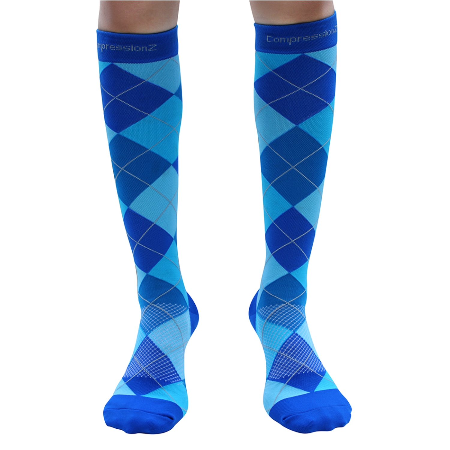 CompressionZ Argyle Blue 30-40mmHg Compression Socks 1 Pair, Small - Comfortable