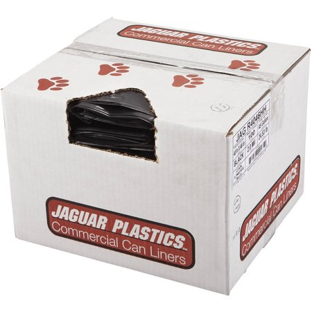 Jaguar Plastics Repro Low-Density Trash Bags, 2 Mil, 40 x 46, Black, 100/Carton -JAGR4046HH 2 Mil Trash Bags