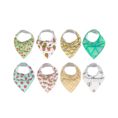 Wrapables® Baby Bandana Drool Bibs, Super Soft and Absorbent Bibs for Drooling and Teething (Set 8), Juicy (Fruit Bib Set)