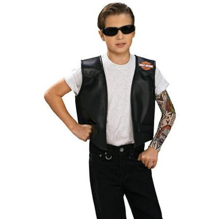 Child's Harley-Davidson Motorcycle Black Biker Gang Vest Costume Accessory