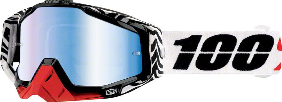 100% Racecraft 2016 MX Goggles w Mirror Lens Zoolander Black White Blue by 100%