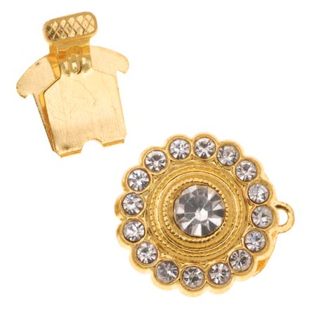 Gold Tone Single Strand Round Box Clasp With Rhinestones 15mm Diameter (1)