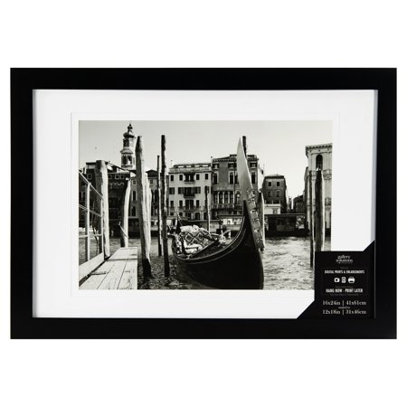 16x24 Wide Flat Black Frame With Mat For 12x18 Image - Walmart.com