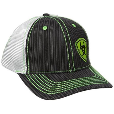 81abfd5e538df M F Western Products 1594001 Ariat Mens Snap Back Pinstripe Lime Shield  Offset Logo Cap - Black ...