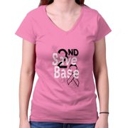 Breast Cancer Awareness Shirt | Save 2nd Base Pray for Cure Junior V-Neck Tee