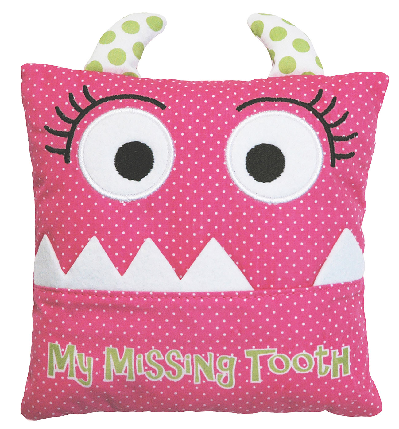 Alma's Designs Tooth Fairy Pillow - Cute Pink Monster Face - 5 by 5 Inches