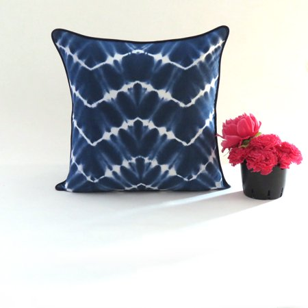 Indigo Tie Dye Throw Pillow Cases Decorative Cushion Covers Living Room Sofa Couch Geometric Pattern Throw Pillows for Patio Decor by Goood Times ()
