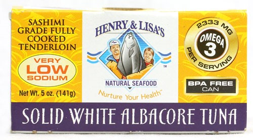 Henry & Lisa's Natural Seafood Canned Solid White albacore Tuna, Very Low Sodium, 5 Oz by Henry & Lisa's Natural Seafood