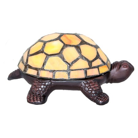 - River of Goods Stained Glass LED Wireless Turtle Table Lamp
