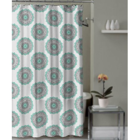 Shower Curtain Gray And Teal Medallion Mandala Boho Decorative Fabric Bathroo