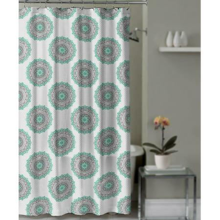 Shower Curtain Gray And Teal Medallion Mandala Boho Decorative Fabric Bathroom
