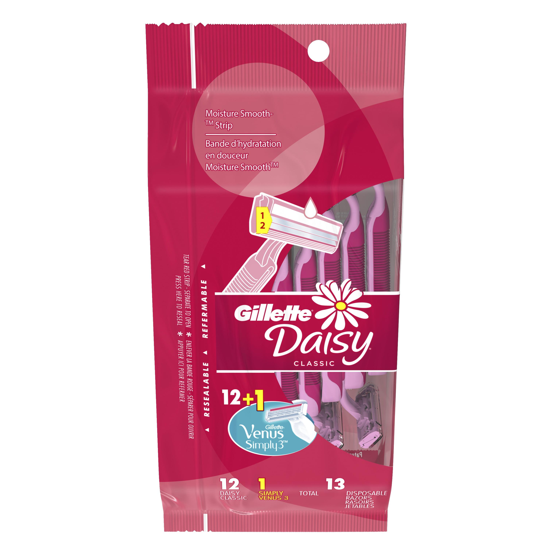 Gillette Daisy Classic Disposable Womens Razor 12 Count 1 Venus The Wet Brush Prints Simply3