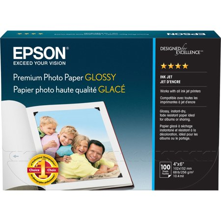 Epson, EPSS041727, Borderless Premium Glossy Photo Paper, 100 / Pack, White