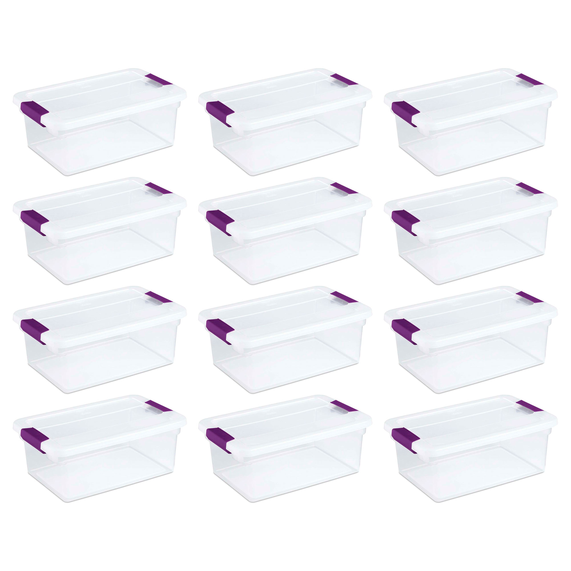 Sterilite 1753 15-Quart Clear View Latch Box Storage Tote Containers (12 Pack)