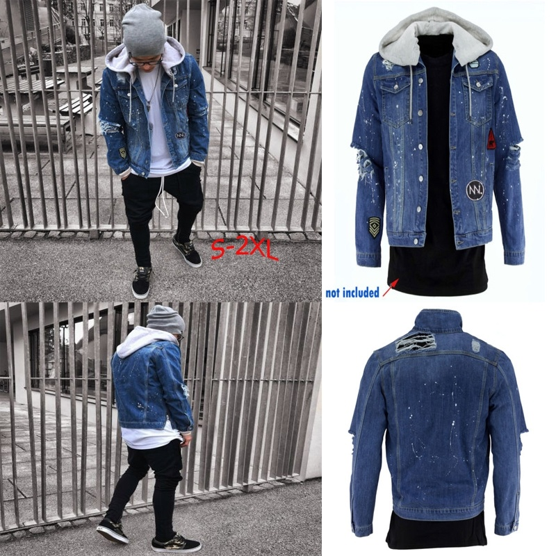 Winter Warm Mens Jeans Jacket Denim Long Sleeve Hooded Ripped Destroyed Coat Fur Collar Jacket