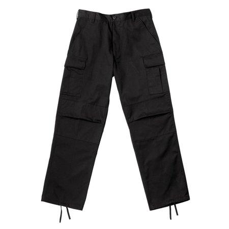 Black Wide-Leg BDU Pants with Zipper Fly, Cargo Pants