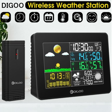 Wireless Weather Station, Digoo Full Color Digital Hygrometer Thermometer Barometer Weather Station with Moon