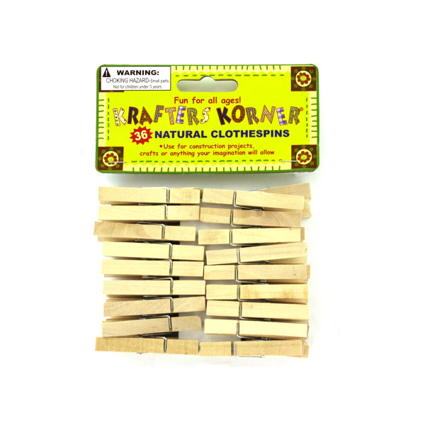 Natural Wood Craft Clothespins (Pack Of 24)