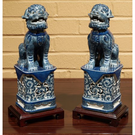 China Furniture and Arts Foo Dogs Lion Statues in Blue and White (Chinese Blue White Porcelain)
