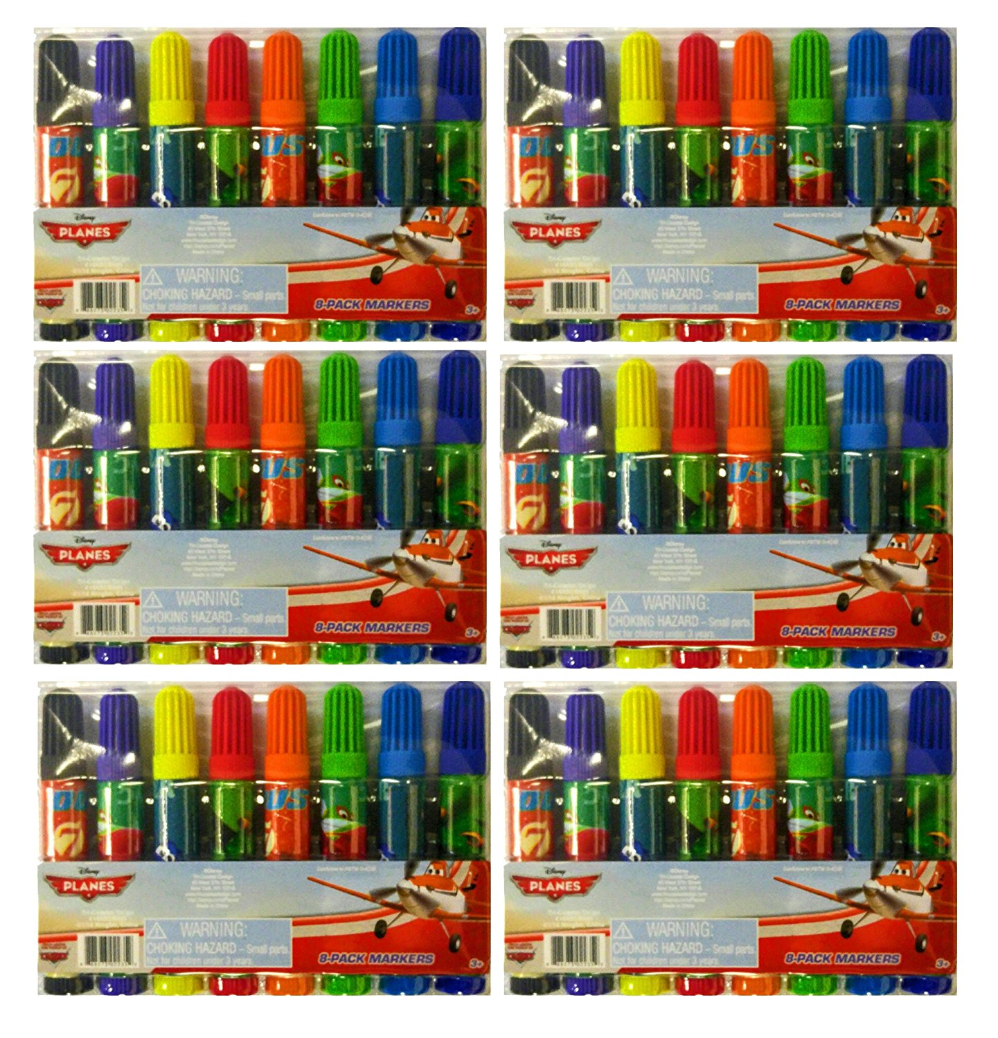 "Set of 6 Disney 8-Pack Childs Markers Assorted Colors 3.5"" Marker, Includes- (6)- Disney Planes 8 pack marker sets By Planes"