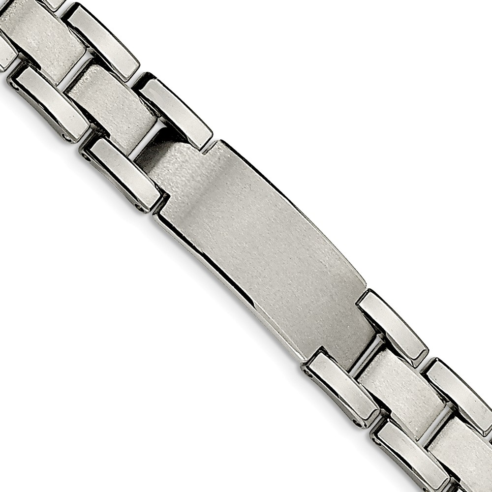 Tungsten Brushed and Polished ID Bracelet (8.5in long)