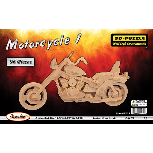 Puzzled 3D Puzzle Wood Craft Construction Kit, Motorcycle