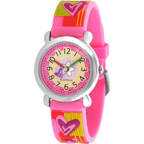 Geneva Platinum Girl's Heart Watch, Silicone Strap