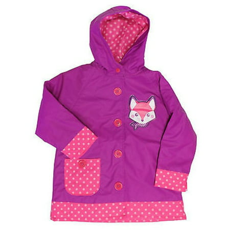 Western Chief Hooded Rain Coat for Girls - Water Resistant Jacket (2T,
