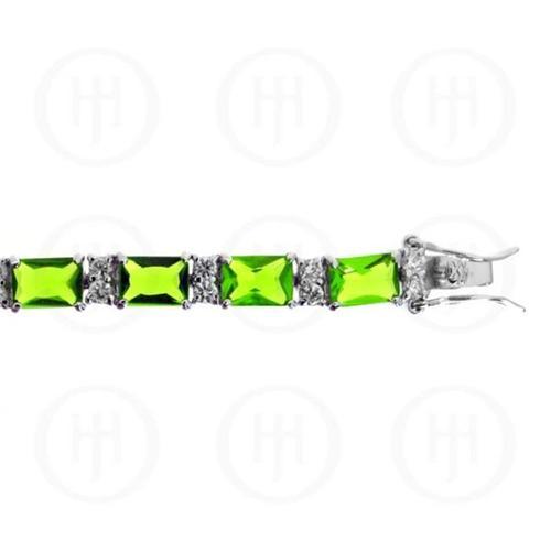 Doma Jewellery MAS07544 Sterling Silver -Rhodium Plated Peridot Cubic Zirconia Emerald Cut Tennis Bracelet by Doma Jewellery
