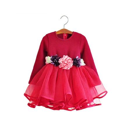 StylesILove Kids Toddler Flower Waist Fluffy Girl Dress (3-4 Years, Red)](Fluffy Girls)