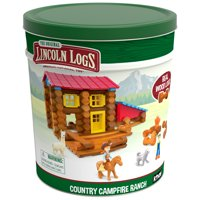 LINCOLN LOGS Country Campfire Ranch - Real Wood Logs - 124 Pieces - Collectible Tin