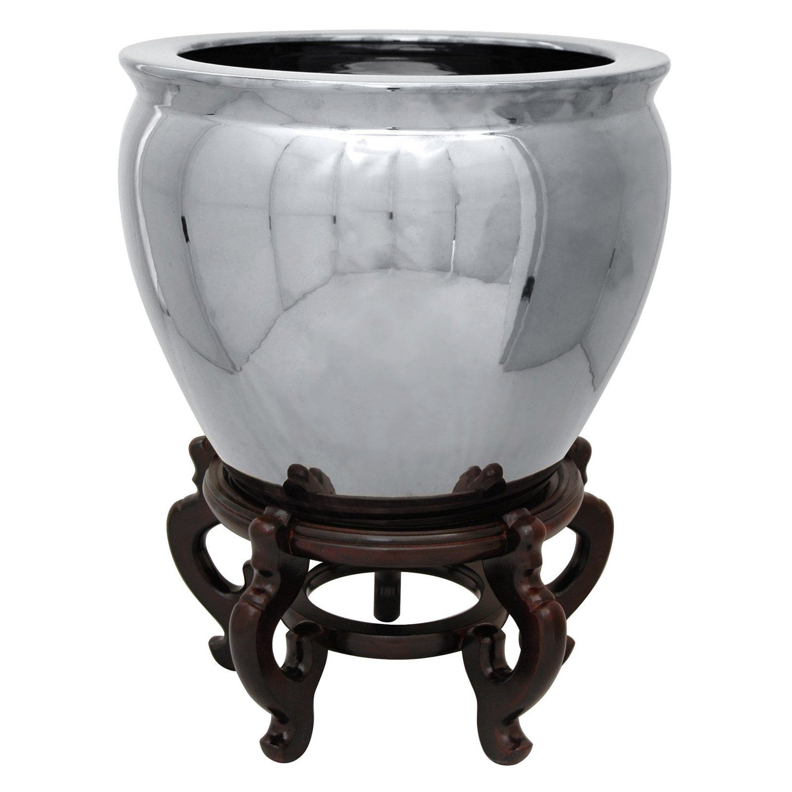 "12"" Pure Silver Porcelain Fishbowl"