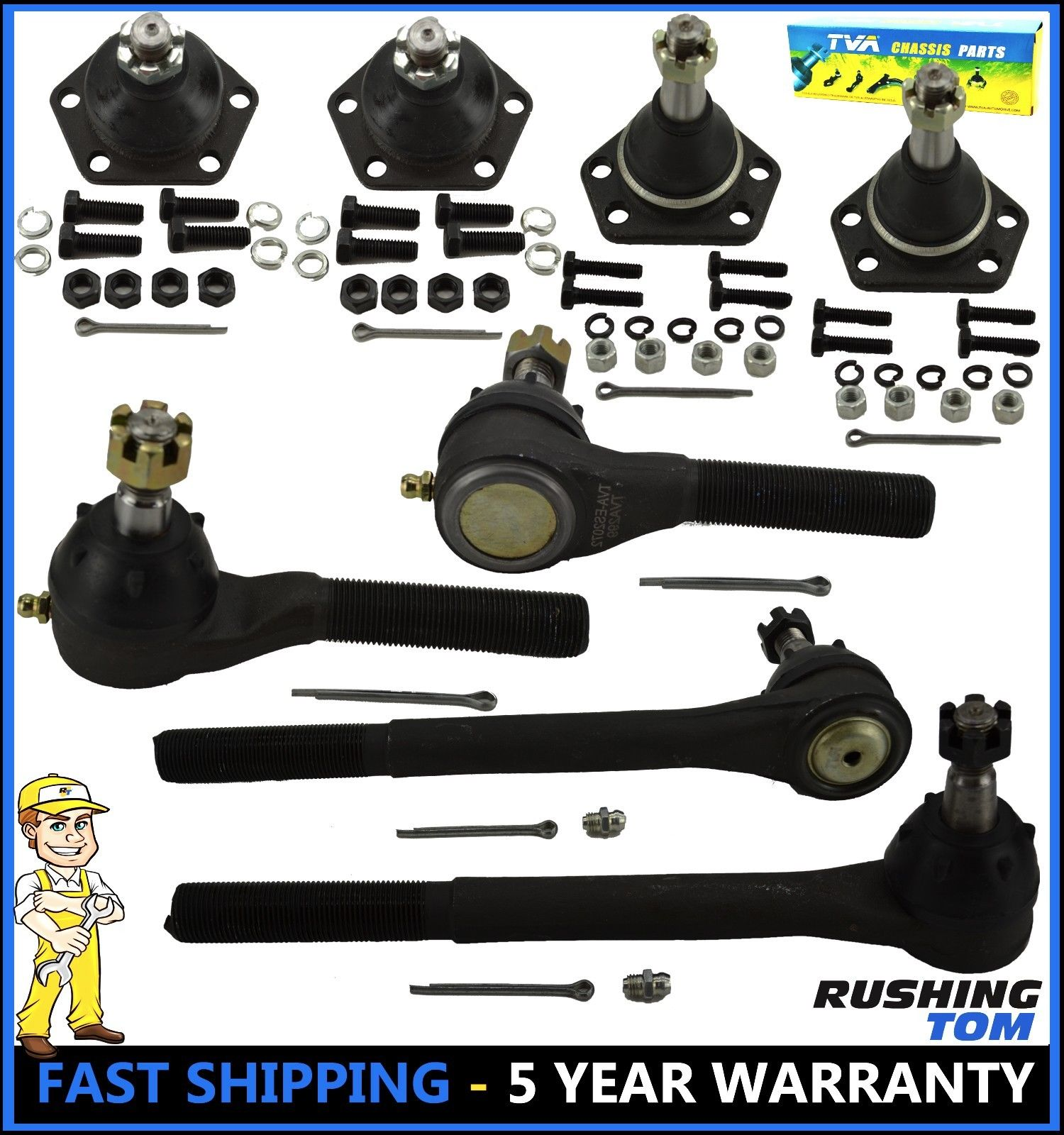 8 Pc Kit Upper Lower Ball Joint Inner Outer Tie Rod End Chevy GMC Blazer S10 4WD