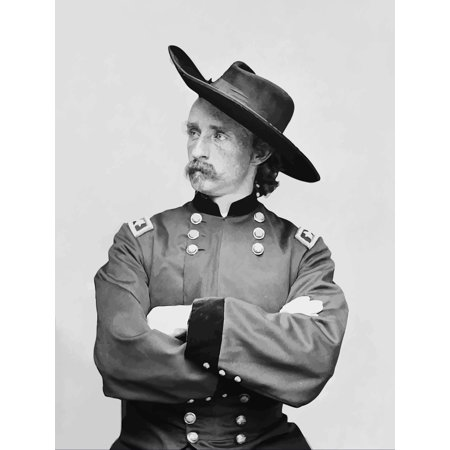 Digitally restored vector portrait of General George Armstrong Custer Poster Print