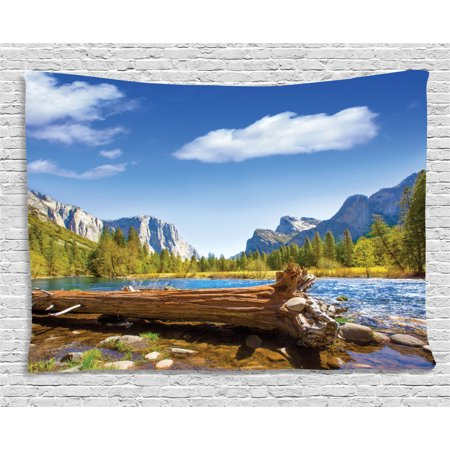 Farm House Decor Tapestry, Yosemite Merced River El Capitan and Half Dome in California Nature Park, Wall Hanging for Bedroom Living Room Dorm Decor, 60W X 40L Inches, Green Blue, by (Brock California Farmhouse)