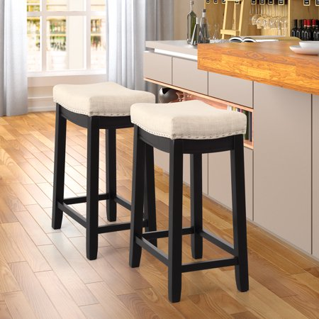 Peachy Outdoor Bar Stool Set Of 2 24 Counter Height Bar Stools With Upholstered Seat Wood Backless Bar Stools With Nailhead Studs Indoor Outdoor Round Cjindustries Chair Design For Home Cjindustriesco