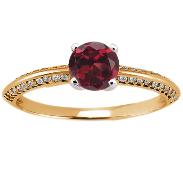 0.94 Ct Round Red Hydro Garnet Diamond 18K Yellow Gold Ring