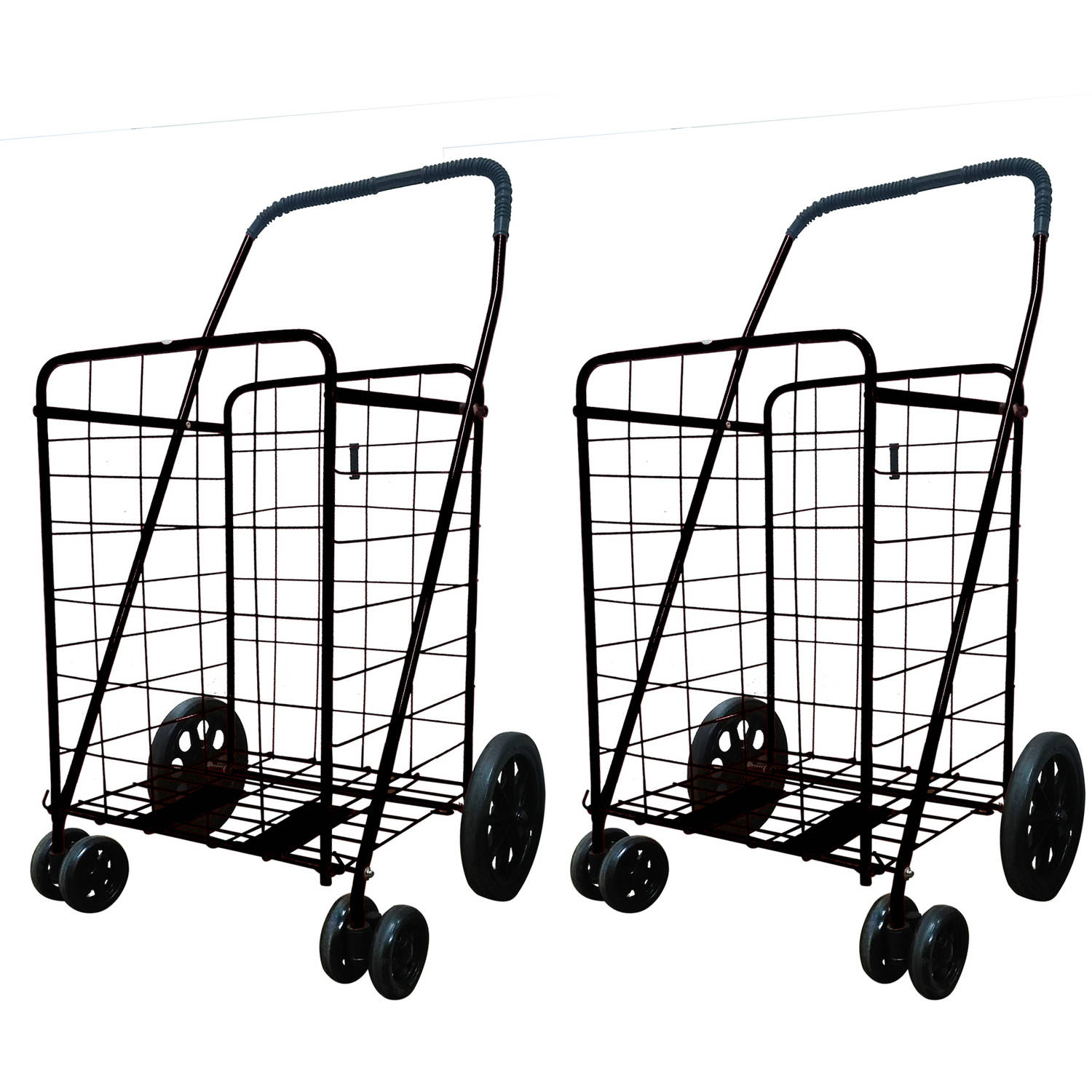 2 Jumbo Folding Shopping Carts, Fold Flat for Storage with Front Rotating Wheels
