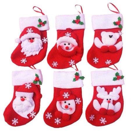 6pcs Christmas Mini Christmas Stockings Socks Decorations Socks Stocking Bag ()