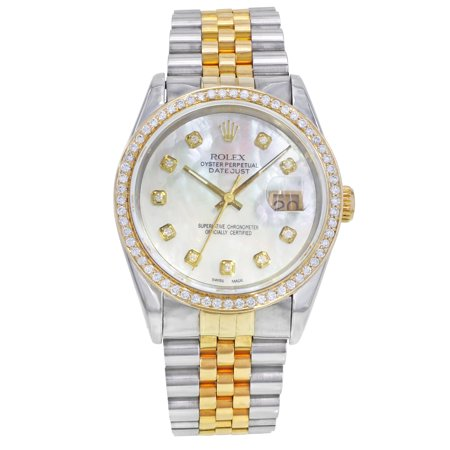 Pre-Owned Rolex Datejust 16233 Steel 18K Gold Custom Bezel and Dial Automatic Mens - Gold Rolex Replica