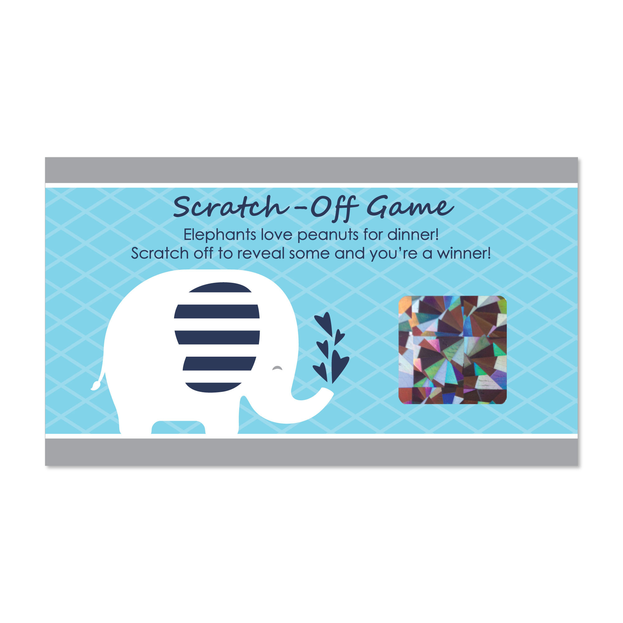 Blue Elephant - Boy Baby Shower or Birthday Party Game Scratch Off Cards - 22 Count