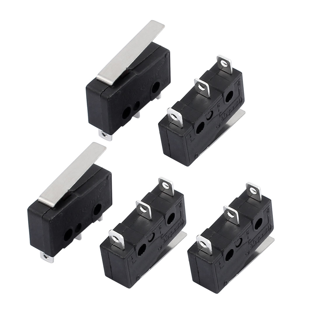 5Pcs AC250/125V 3A 3P Momentary 18mm Lever Arm Micro Switch Black KW12-1