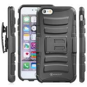 Minisuit Rugged Hybrid Kickstand Case + Belt Clip for iPhone 6 Plus 5.5 inch - Black