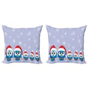 Christmas Throw Pillow Cushion Cover Pack of 2, Bird Family with Santa Hats on Electricity Wire Winter Holiday Humorous Design, Zippered Double-Side Digital Print, 4 Sizes, Blue Red, by Ambesonne