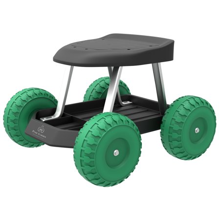 Garden Cart Rolling Scooter with Seat and Tool Tray for