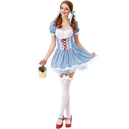 Boo! Inc. Kansas Belle Women's Halloween Costume Sexy Dorothy of Oz Blue Checkered Dress