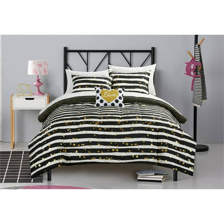 Latitude Gold Glitter Stripe and Polka Dot Bed in a Bag Bedding Set